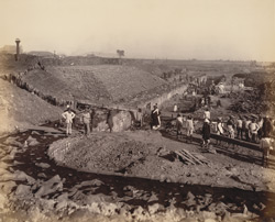 South wall, north jetty, looking eastward [Victoria Dock construction, Bombay].